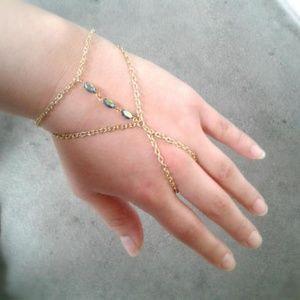 Boho Slave Bracelet Antique Gems Hand Chain